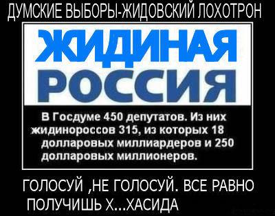 Участвуя в фиктивных выборах, вы участвуете в преступлении перед будущим русского народа и своей страны.